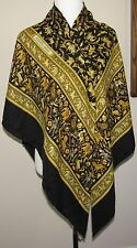 "HERMES GM Cashmere silk"" Chasse en Indie ""SHAWL WRAP, SCARF Black border w/ Gold"