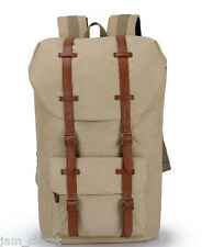 Unisex KHAKI Canvas Backpack School Bag Laptop Bag Top Quality US Seller!