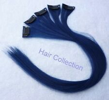 "18""Blue Human Hair Clip-In Extensions for Highlights (5pcs)"