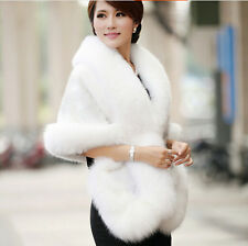 Women Wedding Party Faux Fox Mink Fur Luxury Cape Shawl Stole Wrap Shrug Scarf