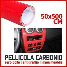 PELLICOLA ADESIVA 50x500 CM CARBONIO TRAMA 3D CAR WRAPPING X AUTO MOTO ROSSA