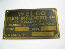 Unissued Enameled Brass WELCO FARM IMPLEMENTS Plate, London, See BUCKLER Mark V