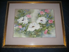 ORIGINAL WORK ANGIE BANTA BROWN SWS SIGNED LARGE PAINTING FLOWERS WATERCOLOR
