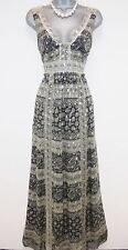 Stunning Monsoon Silk Mix Metallic Evening Occasion Maxi Dress Size 10