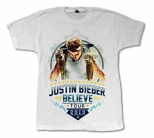 "JUSTIN BIEBER ""MIC TOUR '13"" WHITE BAND T-SHIRT NEW OFFICIAL ADULT M"
