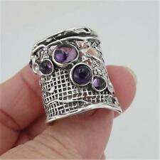 Hadar Designers Israel Handmade Sterling Silver Amethyst Ring any size (H 144)