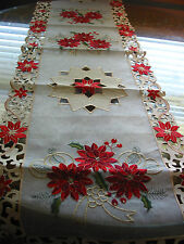 "Christmas Embroidered Table Runner Cut Work Red Poinsettia 16"" x 70"" Ecru Gold"