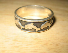 Vintage Sterling Silver Dolphins Swimming Around Band Ring Size 11.5 Guys or Gal