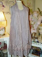 NEW~PRETTY ANGEL Romantic SOFT MAUVE LACE 3-PIECE LAYERED LONG TUNIC TOP M