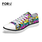 Funky Graffiti Low Top Canvas Sneakers for Women Men Flat Casual Trainers Shoes