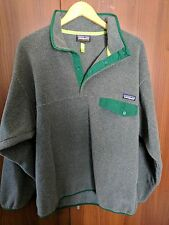Mens Patagonia synchilla fleece pullover gray grey green L large Jacket recent