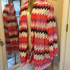 Alfred Dunner Womens Plus 1X Cardigan Knit 3/4 sleeves Open Drape Front Xlarge