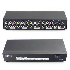 8 Port Audio Video AV RCA Switch Switcher Selector 1 Input 8 Output Splitter Box