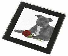 Staff Bull Terrier Dog (B+W) with Red Rose Black Rim Glass Coaster , AD-SBT6R2GC