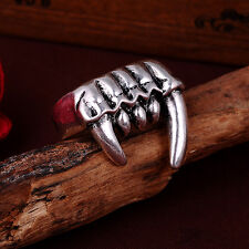 NEW Men's The teeth of beasts US size8 316l stainless steel Punk Rock ring #03