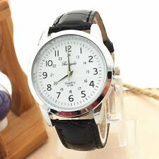 Luxury Mens Sports Leather Strap Stainless Steel Analog Quartz Wrist Watch New