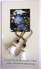 New White Rare German Bead Flower EARRINGS Gold Interchangeable Leverbacks Gift