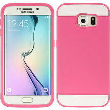 For Samsung Galaxy S6 Edge - HARD RUBBER HYBRID CREDIT CARD SKIN CASE PINK WHITE
