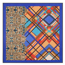 "Women's Blue Plaids Geometric Grid Printed Silk Shawl Square Scarf 39""*39"""