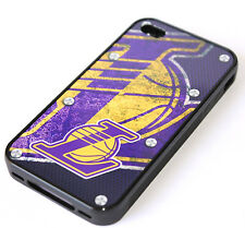 iPhone 4 4S - LA Los Angeles Lakers Basketball Hard TPU Rubber Gummy Case Cover