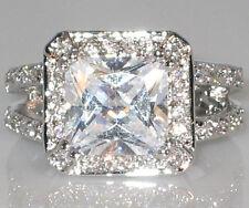 Vogue Halo Dual Band Princess Cut CZ Engagement Bridal Wedding Ring - SIZE 7