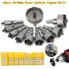 10Pcs Carbide Tip TCT Drill Bit Hole Saw Set Stainless Steel Metal Alloy 16-50mm