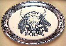 Belt Buckle Barlow Scrimshaw Carved Painted Art Indian Shield  592419 NEW