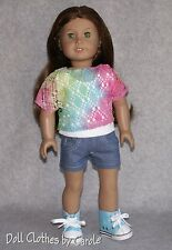 Rainbow Lace Top + Tank + Denim Shorts + Turquoise High Tops fit American Girl