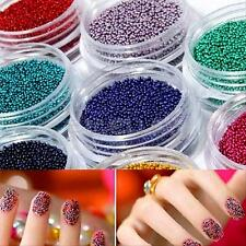12 Color 3D Nail Art Acrylic UV Gel Glitter Powder Beads Decoration Tips Kit Set