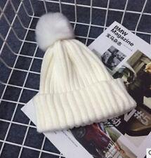 Kids Children Warm Knit Beanie Hat Boys Girls Fur Pom Bobble Beret Crochet Cap