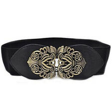 Women Fashion Vintage Wide Elastic Stretch Buckle Waist Belt Waistband Cheap J1