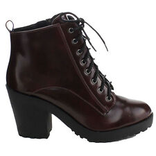 NEW Burgundy wine red LACE UP chunky heel combat Military bootie ankle BOOTS 7.5