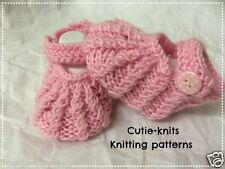 KNITTING PATTERN 37a To knit baby pram shoes/booties, in 3 sizes (INSTRUCTIONS)