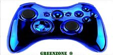 Custom Chrome Blue Ful​l Shell & Parts For Xbox 360 Wireless Controller Mod Kit