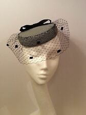 Vintage Style Houndstooth Check Pillbox Hat With Black Veil and Bow