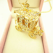 Gold Plated Crystal Bling Princess Carriage Car Pendant Necklace Sweater Chain