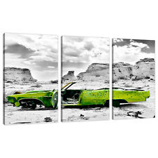 Triptych Triple 3 Canvas Lime Green Boys Bedroom Wall Art Cars 3143