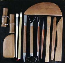 12 Red Wood Pottery Polymer Clay Ceramics Sculpting Modeling Professional Tools