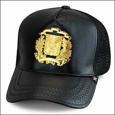Gold Star Trucker Snapback Hat BLACK Perforated Leather/GOLD Dominican Republic