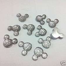 40pcs Clear 14mm Flat Back Mickey Minnie Mouse Head Resin Glitter Rhinestones C6