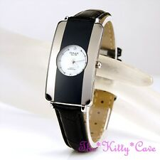 Omax Ladies Slim Swiss Seiko Movt Silver Grey & Black Curved Mirror Watch CE0007