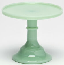 Cake Plate Pastry Tray Bakers Plain & Simple Jade Jadeite Milk Green Glass - 6""