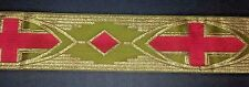 """Vintage Religious Design Red, Gold on Green Banding Vestment Silk 3-1/4"""" Wide"""