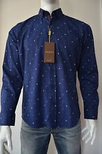 NWT Men's Gucci Shirt Parliament Blue Cotton Blend Slim Fit Size XL