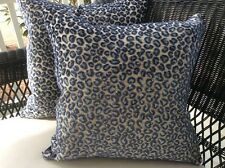 """20"""" Colefax and Fowler velvet leopard print Pillow Cover  in """"WILDE"""" in blue!"""