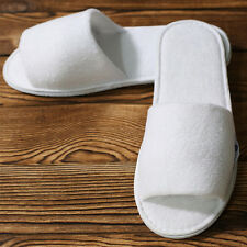 1 Pair White Towelling Hotel Slippers Waffle Open Toe Spa Party disposable Cosy