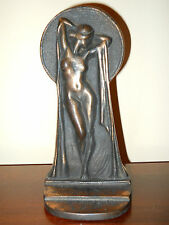 ANTIQUE ART DECO JEANNE DRUCKLIEB BRONZE NUDE FEMALE BOOKEND FIFTY SHADES DECO