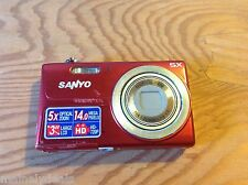 "Sanyo VPC T1496 14.0 MP 5x Optical Zoom 3"" LCD Digital Camera - Red"
