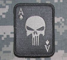 PUNISHER ACE OF SPADES DEATH CARD US ARMY TACTICAL ACU LIGHT VELCRO MORALE PATCH