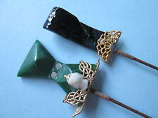 Antique-vintage Art Deco  hat pins lot off 2 glass beads and filigre